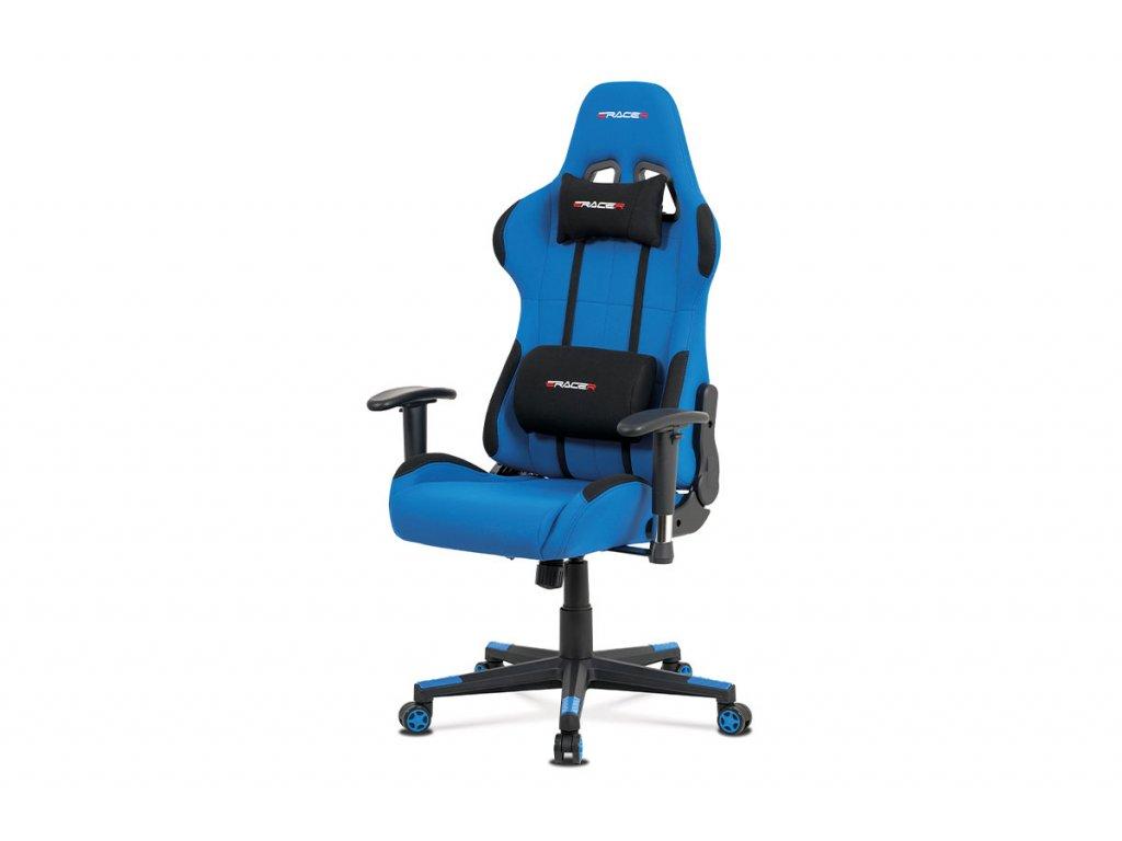 Kancelářská židle modrá látka / plast