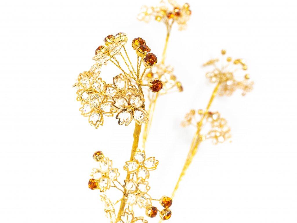 Sada kytek: Zlaté kytky s kamínky 3ks
