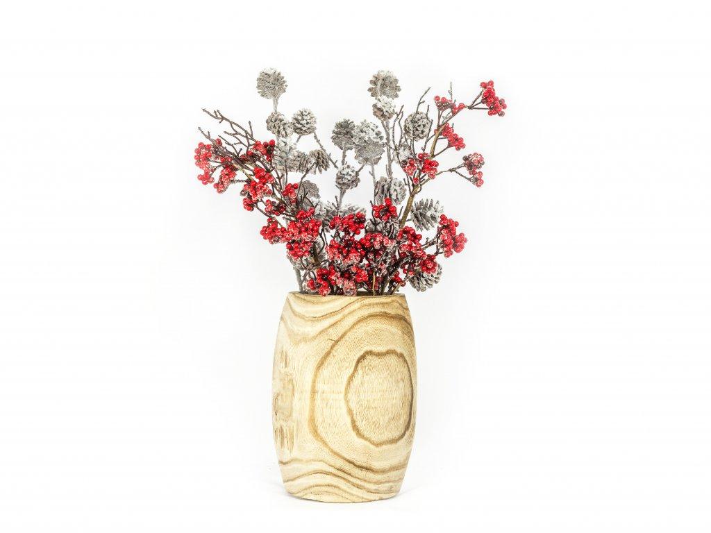 Váza dřevěná s kyticí 60cm