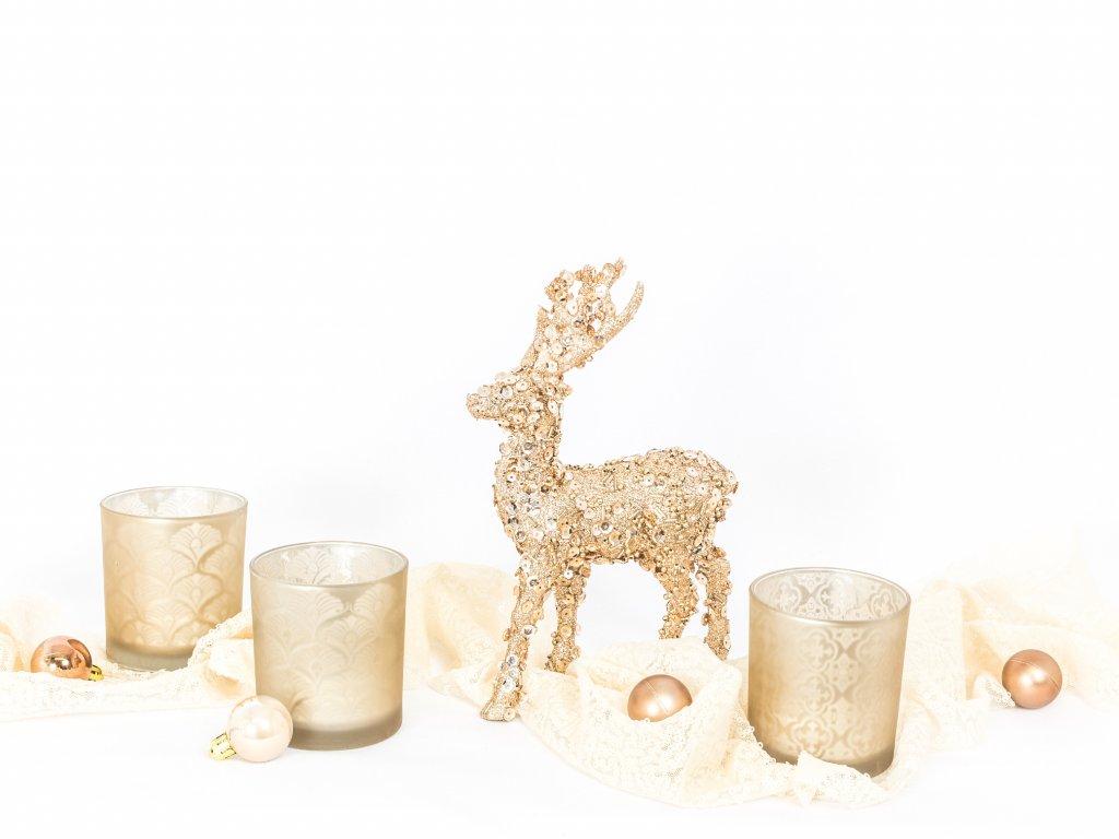 Sada dekorací: Jelínci vánoční 2ks se svícny 3ks
