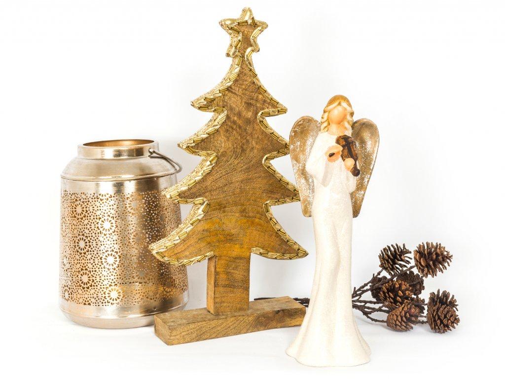 Sada 3 ks dekorací: Strom ze zlatým lemem, andělíček třpytivý, lucerna champagne