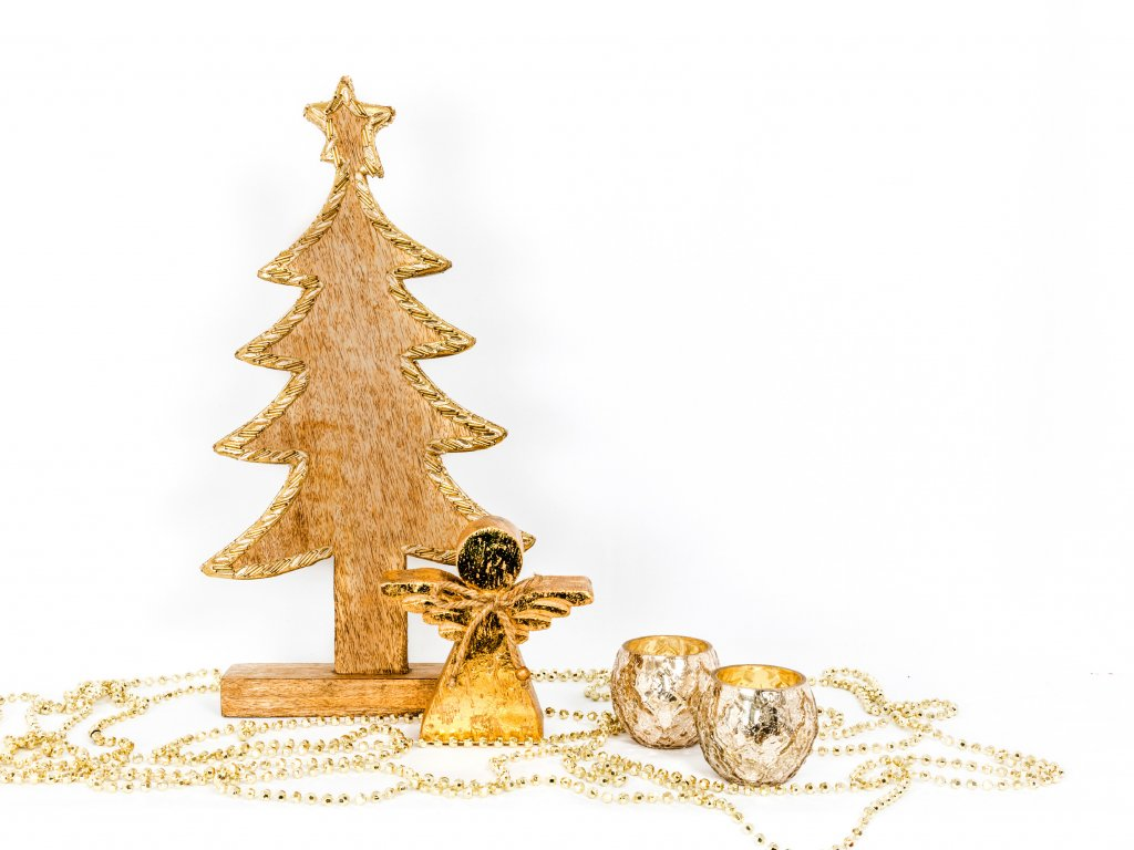 Sada 4 ks dekorací: Strom se zlatým lemem, andělíček, svícny