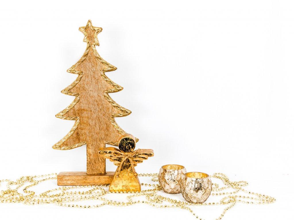 Sada dekorací: Stromek dřevěný s andělem a 2ks svícnů