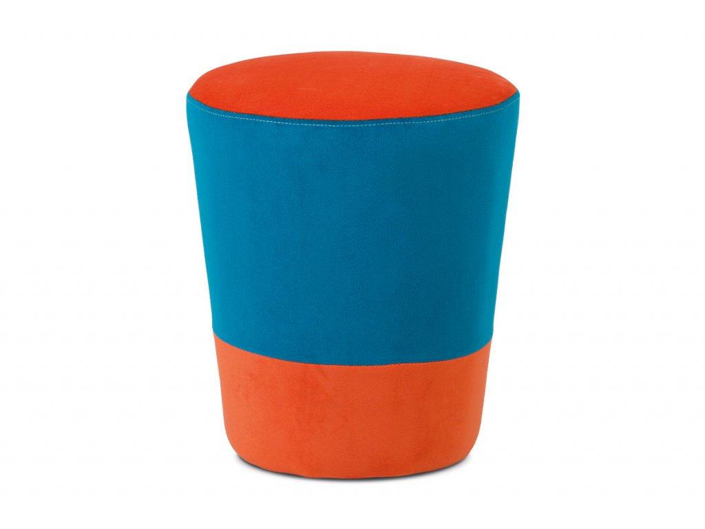 Taburet oranžová / modrá 41 x 35 cm