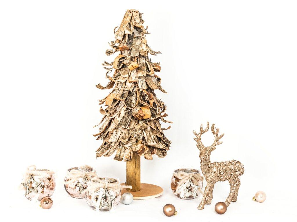 -Sada 6 ks dekorací: Stromek dřevěný 48 cm, 4 svícny a jelínek s glittery