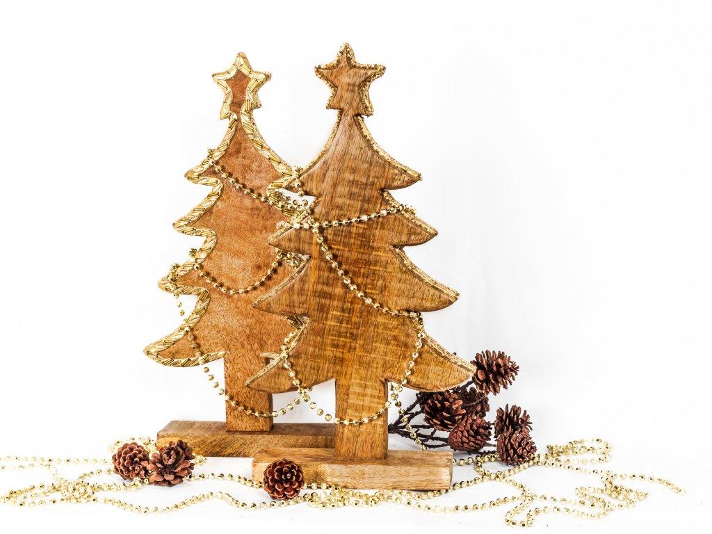 Sada dekorací: Stromky dřevěné se zlatým okrajem 2x44cm