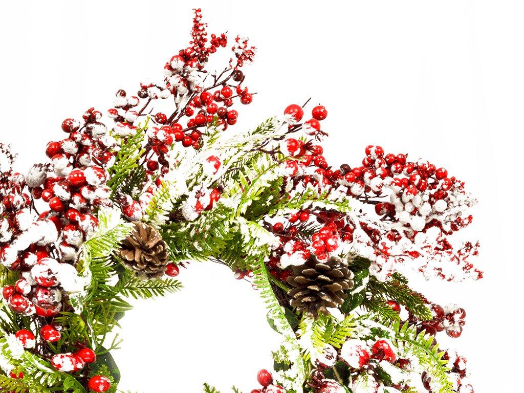 Věnec zasněžený s červenými bobulemi 40 cm