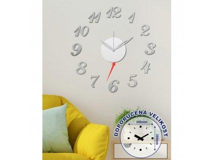 Nástěnné nalepovací hodiny stříbrné 50 cm