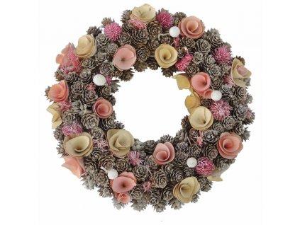Věnec ze šišek s růžovými a žlutými dřevěnými květy 30 cm