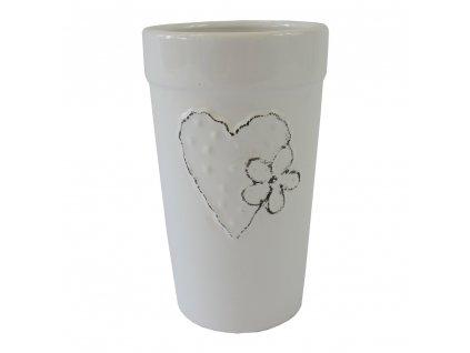 Váza keramická 18 cm bílá se srdíčkem a kytičkou
