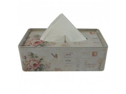 +Plechový box na kapesníky Růže