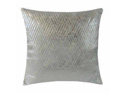 Dekorativní polštář béžový se stříbrnou 45 cm