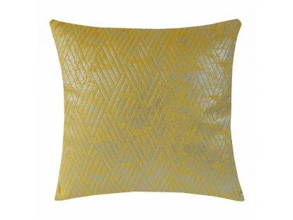 Dekorativní polštář  žluto stříbrný 45 cm
