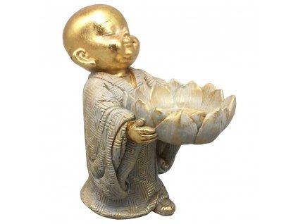 Dekorace Buddha dítě s lotosovým květem 13 cm