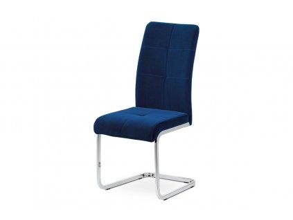 Jídelní židle modrá sametová látka / pohupová chrom podnož