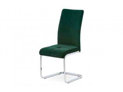 Jídelní židle zelená sametová látka / pohupová chrom podnož