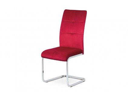 *Jídelní židle červená sametová látka / pohupová chromovaná podnož