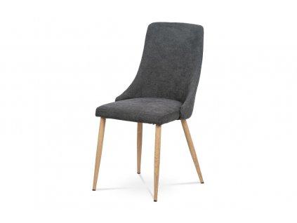 *Židle jídelní šedá látka / kov dekor dub