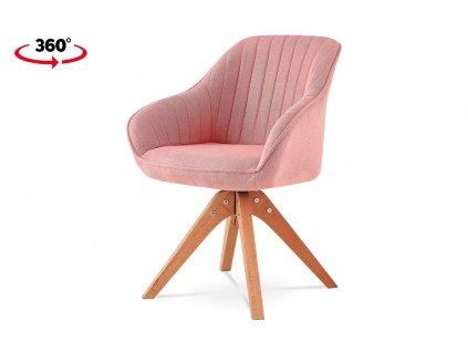 Jídelní židle růžová látka / masiv buk