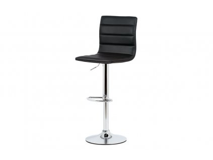 Židle barová černá ekokůže / chrom