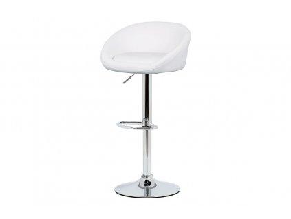 *Židle barová bílá ekokůže / chrom