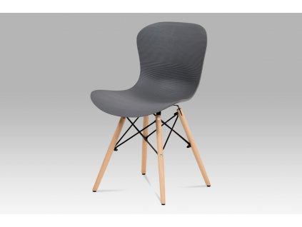 *Židle jídelní šedá vroubkovaný plast / masiv