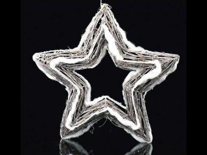 LED závěsná hvězda bílá se sněhem 40 cm