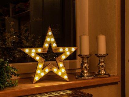 LED HVĚZDA světelná s žárovkami 37 cm