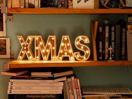 LED světelný nápis XMAS 45 cm