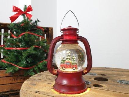 LED světelná dekorativní LUCERNA S AUTÍČKEM 20 cm