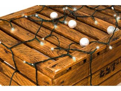 Vánoční světelný řetěz studená bílá 12m