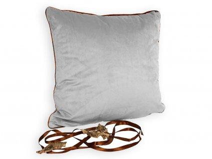 Polštář krémový s hnědým lemem 45 x 45 cm
