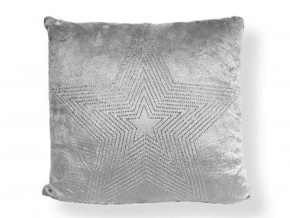 Polštář světle šedý se stříbrnou hvězdou 50 x 50 cm