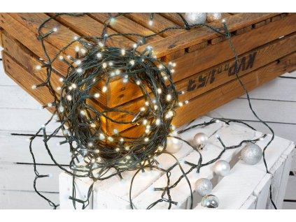 Vánoční světelný řetěz STUDENÁ BÍLÁ 50 m