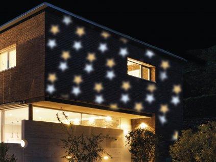LED vánoční projektor světelný MODRO / ŽLUTÉ HVĚZDIČKY - vnitřní i venkovní