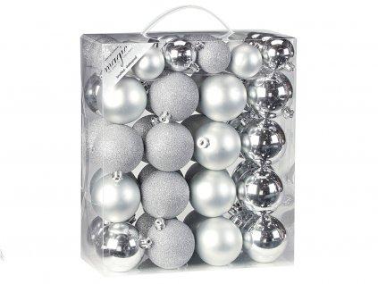 Sada 50ks ozdob: Ozdoby kulaté stříbrné mix