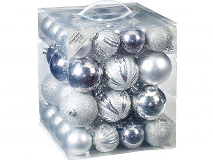 Sada 50 ks ozdob: Ozdoby kulaté stříbrné mix