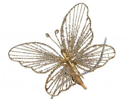 Motýl na klipu zlatý s kamínky 18 cm