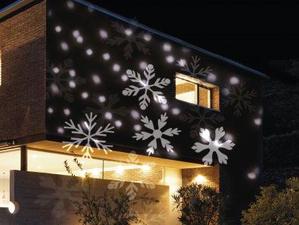 LED vánoční projektor světelný VLOČKY S HVĚZDIČKAMI - vnitřní i venkovní