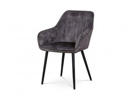 *Židle jídelní a konferenční černá dekor sametu / kov