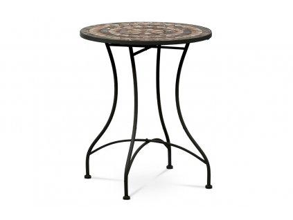 Zahradní stůl keramická mozaika / kov černý 60 x 71 cm