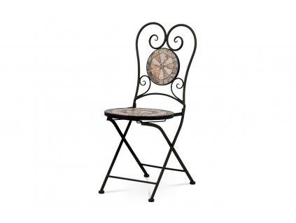 Zahradní židle keramická mozaika / kov černý