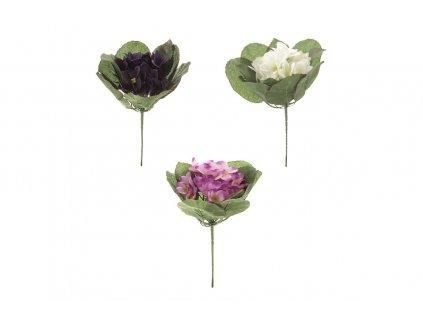 Umělá květina puget Fialky fialová / bílá / růžová 16 x 16 x 20 cm.