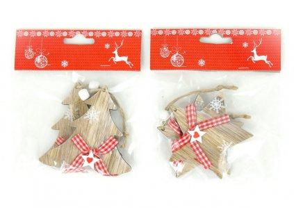 Sada 12 ks dekorací: Dřevěný stromeček / hvězdička na zavěšení 8 cm