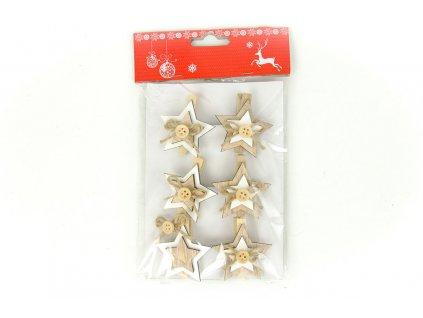 Sada 6 ks dekorací: Dřevěná hvězdička na kolíčku 4,5 cm