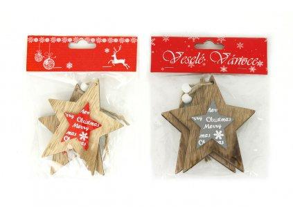 Sada 12 ks dekorací: Dřevěná hvězdička na zavěšení 11 cm