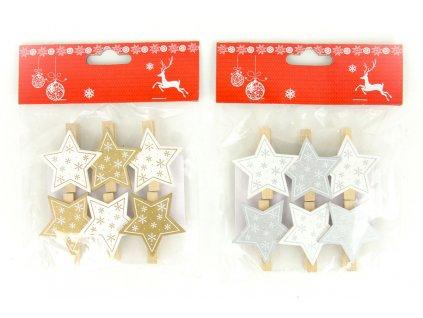 Sada 36 ks dekorací: Dřevěné hvězdičky na kolíčku 4,5 cm