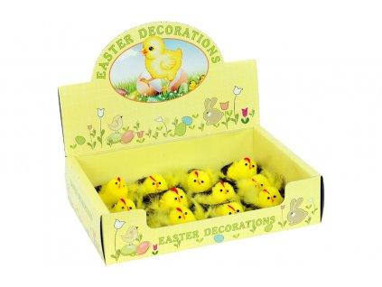 Sada 12 ks dekorací: Box kuřátek v hnízdě 6 cm