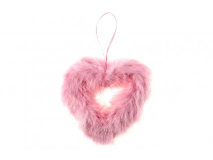 Sada 6 ks dekorací: Srdce z peří růžové 15 cm