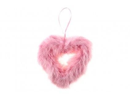 Sada 3 ks dekorací: Srdce z peří růžové 20 cm